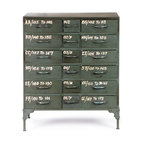 French Military 18 Drawer Chest - Rank and file. Use this piece to keep your quarters neatly organized. This reproduction of an industrial chest from the 1940s is mildly distressed and detailed with yellow lettering for an authentic touch.