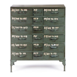 French Military 18-Drawer Chest - Rank and file. Use this piece to keep your quarters neatly organized. This reproduction of an industrial chest from the 1940s is mildly distressed and detailed with yellow lettering for an authentic touch.