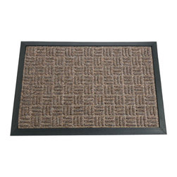 Rubber-Cal - Rubber-Cal 'Wellington' Brown Carpet Rubber Mat (2' x 3') - The long-lasting solution-dyed fibers of the rubber entrance matting will not fade or discolor, as the carpet matting is extremely resilient. This carpeted floor mat is made with natural and reclaimed and recycled rubber materials.