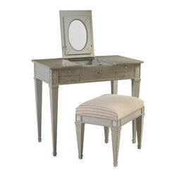 French Heritage - Aubin Vanity and Stool, Grey - Pretty without being frilly, this vanity boasts a fold-up mirror and generous storage, all smoothly concealed behind richly finished hardware.  -Flip up mirror -Two drawers -Two flip up storage compartments -Weight: 110lbs