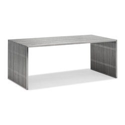 Zuo - Slatted Steel Dining Table - If you are looking for an eye-catching piece for your dining room, then look no further than the Slatted Steel Dining Table.  Part of a namesake collection, the stunning Slatted Steel Dining Table is made of 100% stainless steel and topped with a heavy-duty piece of clear tempered glass for increased functionality.  It's strong frame can easily withstand heavy use.  The Slatted Steel Dining Table easily seats six, and pairs exceptionally with the Slatted Steel double bench and single bench, or any of our modern dining chairs.  The Slatted Steel collection also features a console table, long coffee table, and square coffee table.