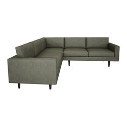 "Bobby Berk Home - Brady Corner Sectional , Bela Pewter, 120"" - With its mid century feel the Brady Collection is sophisticated yet restrained and would sit equally comfort- ably in rooms ranging from a living room to a dressing room to a foyer."