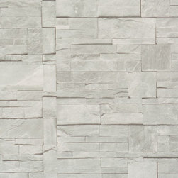 Faux Stone Wallpaper, Ash, Double Roll - Faux Stone is the perfect narrative to stone tiling that would bring the modern look of the stone to your living room.