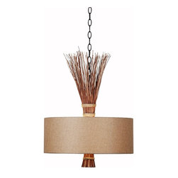 Kenroy Home - Sheaf - Oil-Rubbed Bronze Finish, Natural Reed, Tan Textured Fabric Shade - Sheaf