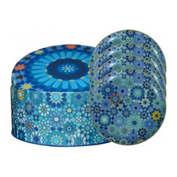 Blue Moucharabieh 4-Plate Set in Decorative Tin - We love this beautiful Moucharabieh plate set. It's the perfect way to serve your guests dessert along side our matching coffee cup set.