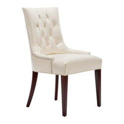 Safavieh - Amanda Side Chair - Features: -Side chair. -Upholstered in cream faux leather. -Dark mahogany legs. -Sleek, button tufted design.