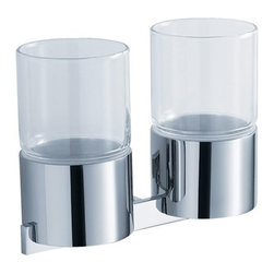 Kraus - Kraus Aura Wall-Mounted Double Glass Tumbler Holder - Add a touch of elegance to your bathroom with a stylish Double Glass Tumbler Holder from Kraus.