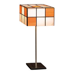 """Arturo Alvarez - Arturo Alvarez Domino table lamp - The Domino table lamp from Arturo Alvarez was designed by Arturo Alvarez and made in Spain. The Domino table lamp is a simple shape enhanced with the specific placement of glass squares stained with color on the diffuser. Originally within simplicity of shapes.   Products description: The Domino table lamp from Arturo Alvarez was designed by Arturo Alvarez and made in Spain. The Domino table lamp is a simple shape enhanced with the specific placement of glass squares stained with color on the diffuser. Originally within simplicity of shapes. Details:                         Manufacturer:                         Arturo Alvarez                                         Designer:                         Arturo Alvarez - 2002                                         Made  in:            Spain                            Dimensions:                         Height: 15.5"""" (39.4cm) X Width: 7.25"""" (18.4cm)                                                     Light bulb:                                      1 X 60W E12 Candelabra                                         Material                         Metal, glass"""