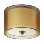 "Sonneman Puri 10"" CFL Flush Mount in Black Brass Finish - The Sonneman Puri Collection's Flush Mount features a Black Brass finish, Bronze shade and Contemporary design. Dimensions: 8"" High by 10"" in Diameter. Shade Dimensions: 7"" High by 10"" in Diameter. Canopy measures 8"" in Diameter."