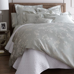 """Nancy Koltes - Nancy Koltes Queen Foglia Grande Duvet Cover, 90"""" x 94"""" - Luxury bed linens at their best, in a soft sea-green shade called luna. All are made in the USA of Egyptian combed cotton woven in Italy. From Nancy Koltes. Machine wash. """"Foglia Grande"""" — """"large leaf"""" in Italian — is a larger-scale companion..."""