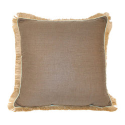 Lacefield Designs Mud Linen Jute Fringe Pillow