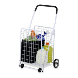 4 Wheel Utility Cart - white painted metal tubes and wire, black rubber grip on handle, 9 rubber wheels. total cart weight: 9.70lbs.