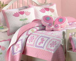 None - Butterfly Flower 2-piece Twin-size Quilt Set - This butterfly flower quilt set features green,pink and white in cute and adorable patterns of butterflies and flowers. Soft 100-percent cotton inside and out,the machine washable twin-size set is perfect for a little girl's bedroom.