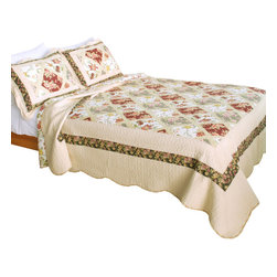 Blancho Bedding - [Lost in Venice] 100% Cotton 3PC Patchwork Quilt Set (Full/Queen Size) - The [Lost in Venice] Quilt Set (Full/Queen Size) includes a quilt and two quilted shams. Shell and fill are 100% cotton. For convenience, all bedding components are machine washable on cold in the gentle cycle and can be dried on low heat and will last you years. Intricate vermicelli quilting provides a rich surface texture. This vermicelli-quilted quilt set will refresh your bedroom decor instantly, create a cozy and inviting atmosphere and is sure to transform the look of your bedroom or guest room. Dimensions: Full/Queen quilt: 90 inches x 98 inches; Standard sham: 20 inches x 26 inches.