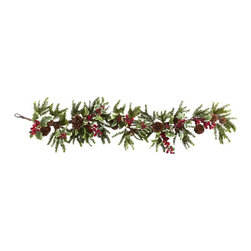 "54"" Holly Berry Garland - Would you like to add some festive holiday spirit in an instant? Just put up this captivating 54"" Holly Berry Garland and you and your guests immediately feel the need to fill out wish lists, wrap gifts, and cook a Turkey! With lush greens, faux pinecones, and colorful berries, this Garland will instantly turn any room into a winter wonderland! Makes a great gift, too! Height= 54 In. x Width= 11 In. x Depth= 6 In."