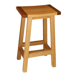 NePalo Cabinetmakers - Cherry and Machiche stools - Mortise and tenon construction with Machiche bread board ends on the shaped stool seat.
