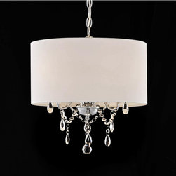 None - Indoor 3-light White/ Chrome Pendant Chandelier - Add this shaded pendant chandelier to a living or dining room for a touch of elegance. It provides a soft light to your dining room table with three 60-watt bulbs. The chrome and white finish makes the fixture look great with any color scheme.
