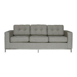 Gus Modern - Jane Sofa by Gus Modern - This is one Jane that's anything but plain. The Gus Modern Jane Sofa is one of the most popular pieces in the Gus Modern collection, due to its distinct mid-century modern feel. The overall form is clean and squared off, topped with button-tufted and top-stitched seat and back cushions, available in a variety of period-style fabric colors. Mid-century modern design interpreted with an industrial edge. Such is the modis operandi of Gus* Modern. Every accessory, sofa, sectional, chair and table they design is inspired by simple forms and honest materials. The resulting modern furniture pieces are clean, elegant and versatile, with crisply tailored upholstery and solid, eco-friendly FSC-certified wood frames. Founded in 2000, Gus* Modern is based in Toronto, Ontario, Canada.