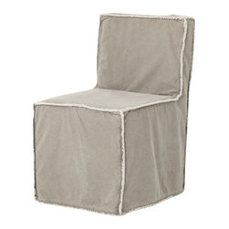 Marco Polo Imports - Gawain Dining Chair-Khaki Canvas - Old fashioned armless dining chair fabricated from 100% cotton with a lovely khaki canvas finish.