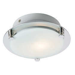 ET2 Lighting - Piccolo 1-Light Flush Mount - Simply cool, this flush-mount fixture sheds new light on your favorite modern setting. Frosted glass on a gleaming frame lends a sense of futuristic refinement to your decor.