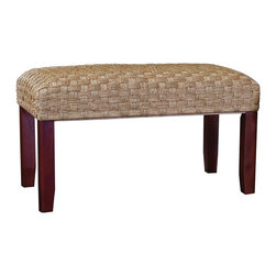 Sea Grass Bench w/ Wooden Legs - Woven Sea grass Bench with Mahogany Finish Wooden Legs.