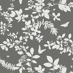 Shadow Vine - Charcoal - This screen printed silhouetted vine is a modern interpretation of summer foliage. Its graceful leafy pattern is contrasted against a nature inspired palette of both soft and dramatic shades.