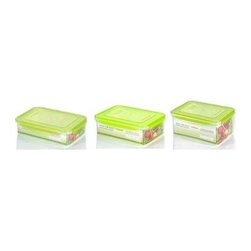 Kinetic - 6 Pc Rectangular Plastic Food Storage Containers w Silicone Sealed Lids - Includes (1) 54 oz., (1) 91 oz. & (1) 112 oz. storage containers. Kinetic Go Green Premium. Silicone sealed locking lids. BPA-free plastic food storage. The Kinetic preservation technology helps food stay fresh up to three times longer for maximum freshness and superior spoilage prevention.. Keeps your foods fresher up to 3 times longer than conventional plastic food storage. Airtight and watertight silicone seal. Refrigerator and freezer-safe. Microwave-safe without the lids. Top rack dishwasher-safe. Clear body with green lid