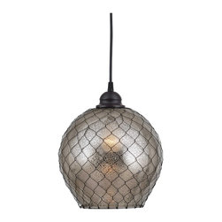 Kenroy - Kenroy KR-93038AMER Nillo 1 Light Pendant - Antiqed mirror glass and wire mesh make for a bold style twist on this modern orb shaped pendant. An oil rubbed bronze finish is an attractive match and easily blends with a variety of decor themes.