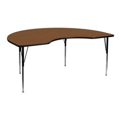 Flash Furniture - Flash Furniture Accent Table X-GG-A-H-KAO-YNDIK-6984A-UX - Flash Furniture's XU-A4896-KIDNY-OAK-H-A-GG warp resistant high pressure laminate kidney activity table features a 1.25'' top and a high pressure laminate work surface. This Kidney Shaped High Pressure Laminate activity table provides an extremely durable (no mar, no burn, no stain) work surface that is versatile enough for everything from computers to projects or group lessons. Sturdy steel legs adjust from 21.25'' - 30.25'' high and have a brilliant chrome finish. The 1.25'' thick particle board top also incorporates a protective underside backing sheet to prevent moisture absorption and warping. T-mold edge banding provides a durable and attractive edging enhancement that is certain to withstand the rigors of any classroom environment. Glides prevent wobbling and will keep your work surface level. This model is featured in a beautiful Oak finish that will enhance the beauty of any school setting. [XU-A4896-KIDNY-OAK-H-A-GG]