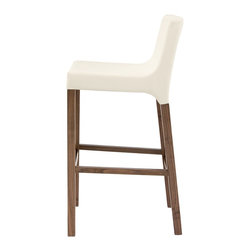 Blu Dot - Blu Dot Knicker Barstool, White - Details make the difference. Like the subtle shift from fabric to wood and the just-so padded seat. Whether you're serving souffle or sausage sizzle, no one will mind because of these chairs. Available in chalk or dark roast upholstery and white, black or chocolate leather alternative with walnut legs. Stools complete with a brushed stainless steel accent that protects the footrest from wear.Padded hardwood seat frame, Brushed stainless steel footrest, Solid hardwood legs with walnut veneer, Chalk: 70% Acrylic / 30% Wool blend upholstery, White, Chocolate, Black: Flesh-free leather alternative upholstery
