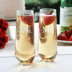 Cathys Concepts Mr. & Mrs. Stemless Champagne Toasting Flutes - Offer your favorite couple a toast with the Cathys Concepts Mr. & Mrs. Pilsner Set. These perfect flutes feature Mr. and Mrs. monograms - great for a wedding gift! These flutes are dishwasher safe.About Cathy's ConceptsA leading business-to-business manufacturer and distributer of personalized gifts and wedding accessories, Cathy's Concepts was founded in 1988 by Cathy LaValley and is headquartered in Indianapolis, Indiana. With over two decades of experience in innovative product development as well as personalizing, packaging, and shipping experience, the people at Cathy's Concepts pride themselves on creating and maintaining higher standards, greater opportunities, and tailored business solutions to fit all their customer's needs.