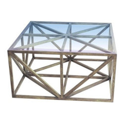 Geo Cocktail Table - Geometric patterns are always fun on fabric, but we love them in this table as well! We would keep it completely accessory-free to let that ironwork shine.