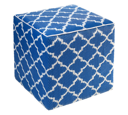 Fab Habitat - Tangier Pouf, Regatta Blue & White - Scatter these handy cubes indoors or out as extra seats or side tables. They're handmade from recycled polypropylene and filled with polystyrene, for long-lasting comfort and color retention. The stylized Moroccan design adds an exotic touch to the pool, patio or playroom, and the cubes stack for easy storage.