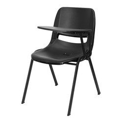 Flash Furniture - Flash Furniture Ergonomic Shell Chair in Black - Flash Furniture - Folding Chairs - RUTEO1BKLTABGG - This is the perfect tablet arm chair for any classroom or training room setting. The simplistic design makes this Flash Furniture Tablet Arm Chair a versatile and welcomed addition to your school or in the home. This chair features a comfort-formed back and contoured seat with waterfall front. Along with a comfortable sitting experience you get the added security that this chair will endure the test of time. [RUT-EO1-BK-LTAB-GG]