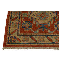 2'x3' Oriental Rug 100% Wool Red Kazakh Tribal Design Hand Knotted Sh18448 - Our Tribal & Geometric hand knotted rug collection, consists of classic rugs woven with geometric patterns based on traditional tribal motifs. You will find Kazak rugs and flat-woven Kilims with centuries-old classic Turkish, Persian, Caucasian and Armenian patterns. The collection also includes the antique, finely-woven Serapi Heriz, the Mamluk Afghan, and the traditional village Persian rug.