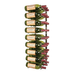 VintageView - 27 Bottle Wall Mounted Wine Rack - Unique wine rack can be used for both storage and display as nine rows of hardened, rugged steel in a shiny nickel metallic finish hold up to three bottles of wine each.  Mount it to your wall for a stunning look or keep in your wine cellar for safekeeping of your precious wine collection.  Can be cut to size to suit your needs. * Side design allows you to view your wine bottle labels instead of the corks in a quick glance. Unit can be stacked or cut for a perfect fit in nearly any wine storage area. Perfect for any space from kitchen counter tops to commercial wine cellars. Rack provides higher bottle density than traditional wine racking. Rugged steel design guarantees the safe storage of your wine collection. Designed to be easy to install and maintain. 27 Bottle rack. 9 Rows. 3 Bottles deep. Nickel finish. 12 in. W x 36 in. HUnique wine rack can be used for both storage and display as 9 rows of hardened rugged steel in a shiny nickel metallic finish hold up to 3 bottles of wine each. Mount it to your wall for a stunning look or keep in your wine cellar for safekeeping of your precious wine collection. Can be cut to size to suit your needs.VintageView Wall Mount Series Wine Rack Installation Video