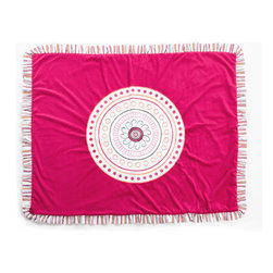 "Sophia Lolita - Medium Quilt - Sophia Lolita coordinating quilt is fun and pretty.  Soft minky on both sides make this the perfect blanket anytime and anywhere!  Quilt front is designed with bright poppin pink minky and detailed with the collections circular shape in a magnificent appliqu� which is centered.  Back of quilt is solid poppin pink.   Quilt has ruffle trim in ""Lolita Stripe"" cotton print fabric which adds detail and style.   Not only does this quilt coordinate with the entire set you can also enjoy using this outside the crib and for years to come!"