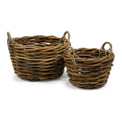 iMax - iMax Capuchin Round Oversized Rattan Baskets - Set of 2 X-2-60145 - The oversized set of two round Capuchin baskets are woven from rattan and are a beautiful way to stay organized.