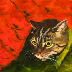 """Kittypuppytown Pet Portraits - This is an example of an 8""""x10"""" portrait of one cat.  It is a portrait of my friends' cat, Suzuki.  It is archival and painted on a flat panel, ready to be framed."""