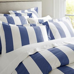 PB Classic Stripe 400-Thread-Count Duvet Cover, Twin, Lapis Blue - Awning stripes give this bedding its all-American appeal. We've printed them across luxuriously soft 400-thread count cotton percale. Woven 100% pure cotton percale. 400-thread count. Duvet and sham reverse to self. Duvet cover has a hidden button closure; sham has an envelope closure. Duvet cover, sham and insert sold separately. Machine wash. Internet Only. Imported.