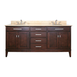 Avanity - Madison 72 in. Double Vanity Only - The Madison 60 in. vanity combines function with style. The vanity is designed with strong attractive lines and finished in Light Espresso with old bronze / brushed nickel hardware. It is constructed of solid Poplar wood and veneer with soft-close door hinges and drawer glides.