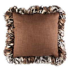 Brandi Renee Designs - Brown Basket Weave Leopard Ruffle Pillow - Pair with bold complementary pieces or multicolored décor.  This pillow will work with more styles than you might expect.  Warm and inviting, the cocoa brown fabric has a timeless earthy vibe.  Adorned with a chocolate animal print ruffle trim, it's refreshingly stylish. This chic pillow will have a grounding impact on nearly any palette.