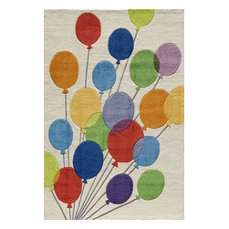 Momeni - Momeni Lil Mo Whimsy Lmj16 Multi Balloons Rug - Lmojulmj16Mba5070 - Forest critters, retro robots and mod flowers, oh my! Quirky motifs combine to put 'Lil Mo Whimsy in a class by itself. Hand-tufted of soft mod-acrylic, this collection features hand-carving for added texture and a vibrant color palette to make it as fun as it is unique.