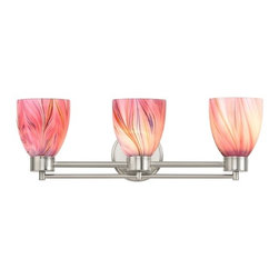 Design Classics Lighting - Satin Nickel Modern Bathroom Light with Pink Art Glass - 703-09 GL1004MB - Contemporary / modern satin nickel 3-light bathroom light. A socket ring may be required if installed facing down. Takes (3) 100-watt incandescent A19 bulb(s). Bulb(s) sold separately. UL listed. Damp location rated.