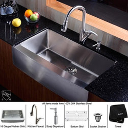 Kraus - 36 in. Farmhouse Single Bowl Sink with Faucet and Soap Dispenser - Add an elegant touch to your kitchen with unique Kraus kitchen combo