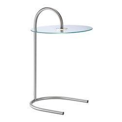 Adesso - Adesso Gravity LED Light Table - Satin steel accent table has a tempered glass table top, underneath which a 6 Watt LED chip is housed inside a metal casing. The light is shed through a clear narrow acrylic disk, and is reflected above and below the glass table top. Steel tubing provides the table frame and U-shaped base. Foot step switch. 25.75 in Overall height. Glass: 16 in Diameter, 3/16 in Thickness (20.5 in Clearance floor to glass). U-base: 13.5 in Width, 13 in Depth.