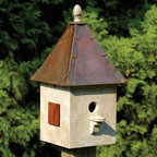 Songbird Suite Bird House - Old World - With its cypress wood construction, solid copper roof, decorative cast iron finial and mahogany shutters, this Old World Songbird Suite Bird House will add a unique touch to your back yard or garden.