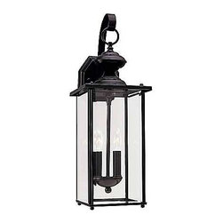 Sea Gull Lighting - Black Two-Light Outdoor Wall Mount - This outdoor wall mount is finished in a classic black and is accented with clear beveled glass. Please note the height from the center of the outlet box is 8?. Sea Gull Lighting - 8468-12