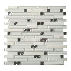 Euro Glass - Symphony Morning Meditation Random Bricks White Glamour Series Glossy Frosted - Sheet size: 1 Sq. Ft.