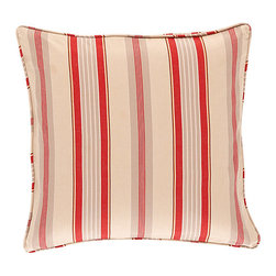 """Ballard Designs - Vintage Red Quilted Stripe Pillow with Insert - 18"""" - Coordinates with our Vintage Red Quilted Bird Pillow. 2200-gram cotton fill. Knife-edge & hidden zipper. Luxurious feather-down insert. The rich stripe motif was inspired by a piece of vintage fabric from the Ballard library. Our Vintage Red Quilted Stripe Pillow is made of soft 100% cotton and hand quilted in a double-diamond pattern for great depth and texture.Vintage Red Quilted Stripe Pillow features: . . . ."""